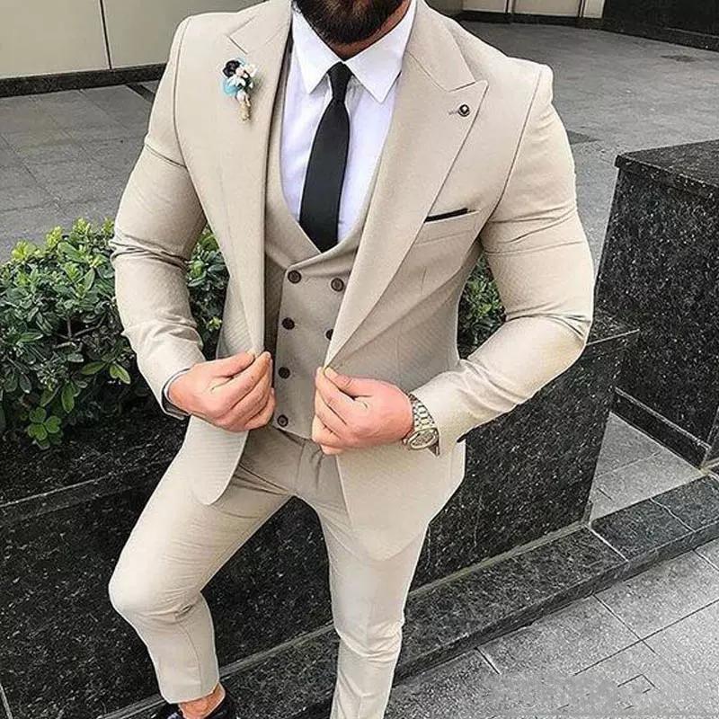 بدلة رجالية بيج أنيقة ضيقة بدلة العريس للزفاف 3 قطع جاكيت وبنطلون بدلة العريس أفضل رجل سترة للعمل