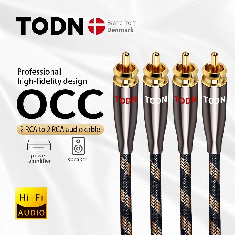 TODN 1 زوج كابل RCA 99.999% OCC ستيريو كابل RCA عالية الأداء قسط مرحبا فاي الصوت 2RCA إلى 2RCA خلاط ربط كابل T