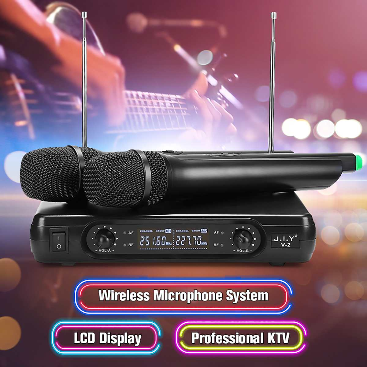 Dual Cordless Handheld Mic 2 Channel Wireless Microphone System with LCD Display High-fidelity Stability Large Receiving