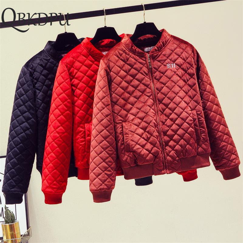 Embroidery Fashion Women Short Winter Jacket Korean Velvet Loose Cotton Coat Female Padded Cotton Casual Baseball Streetwear