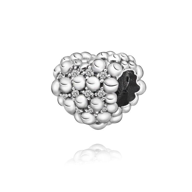 2020 Valentine New 100% 925 Sterling Silver Beads Beaded Sparkling Heart Charm fit Original Pandora Bracelets Women DIY Jewelry