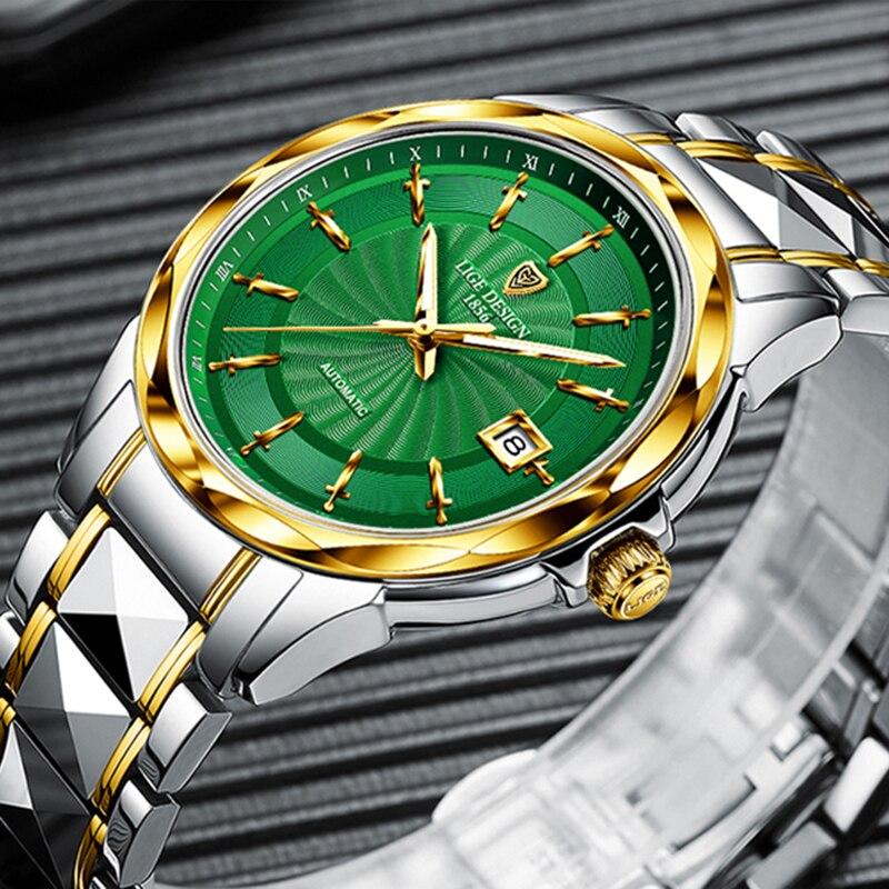 2020 LIGE Top Brand Luxury Men Automatic Mechanical Watch Tungsten Steel Waterproof Self-Wind Sapphire Glass Business Wristwatch enlarge
