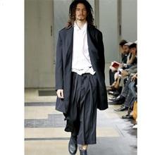European and American skirt pants cropped pants Yamamoto Yoshiji wide leg pants catwalk trendy mens loose casual pants cropped
