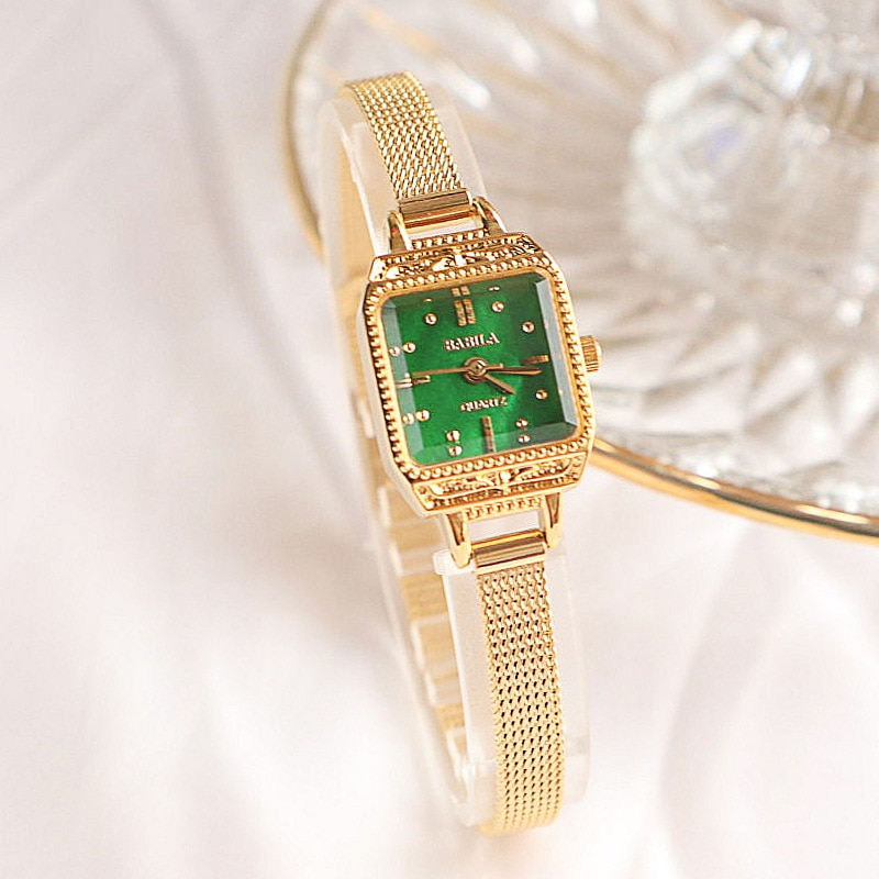 Japanese retro exquisite square leisure small dial womens watch life waterproof imported quartz movement