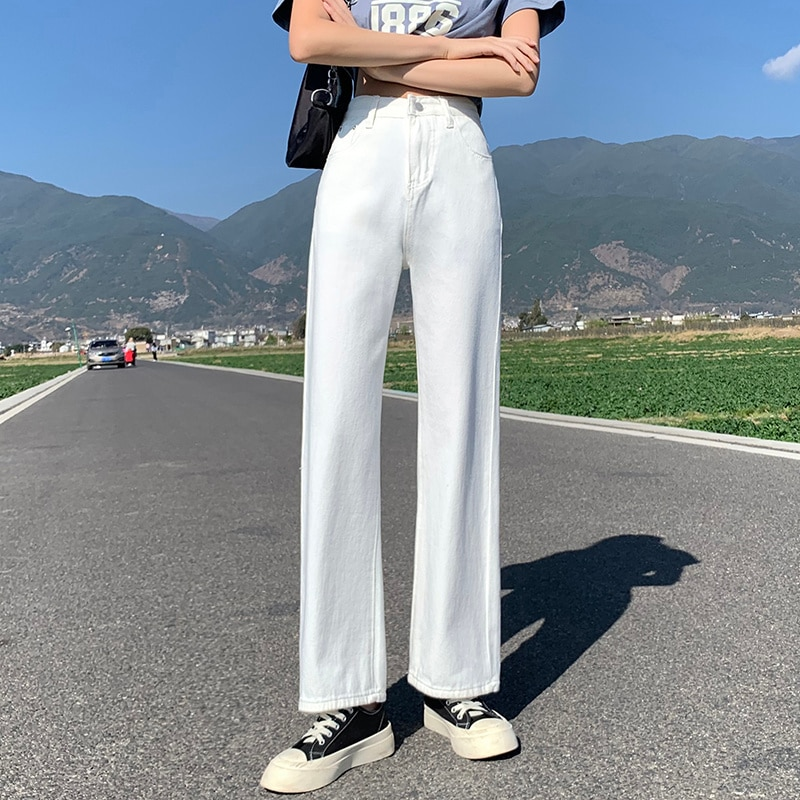 Pure White Wide-Leg Jeans Women's Pants Spring and Autumn
