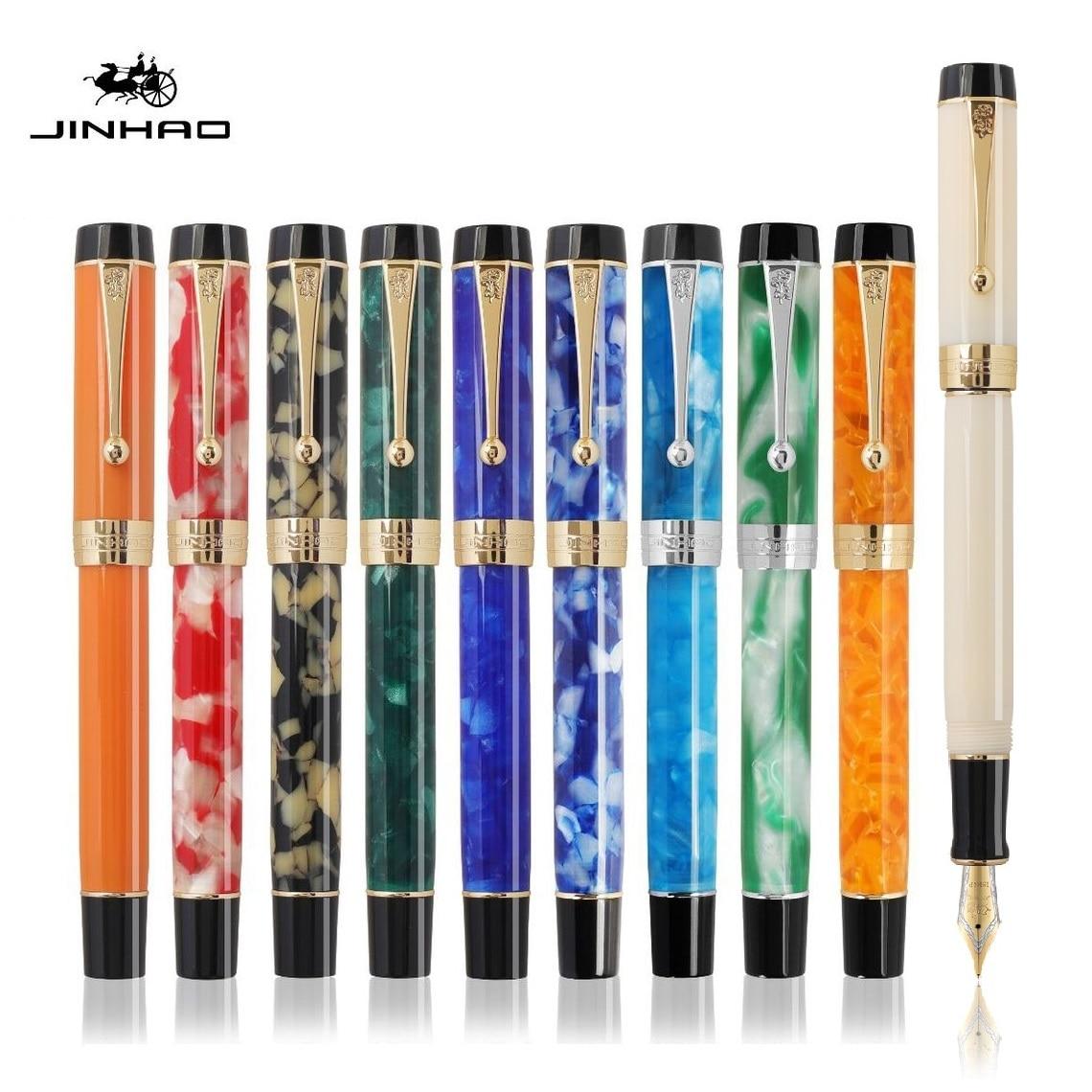 AliExpress - Jinhao Century 100 Series Fountain Pen Multi Color Acrylic Barrel Fine Nib Gold Trim Business Office Signature School A6999