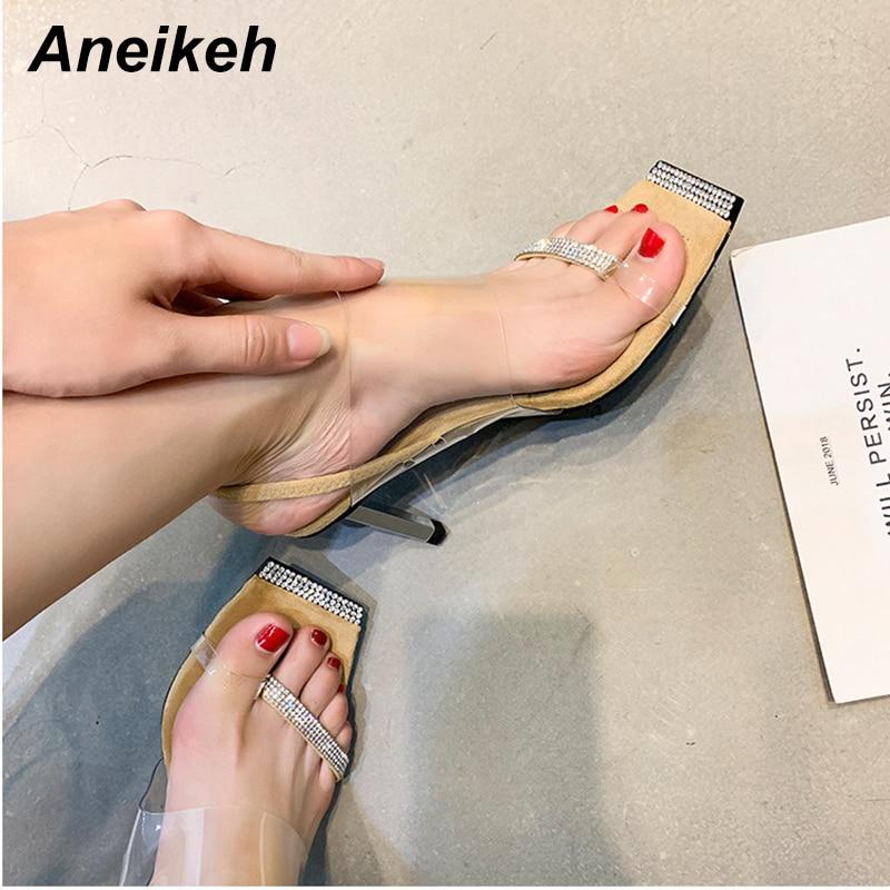 Aneikeh moda PVC Bling cristal tacones altos sandalias mujeres cabeza cuadrada Pinch toe gladiador sandalias verano fiesta zapato tamaño 41 42