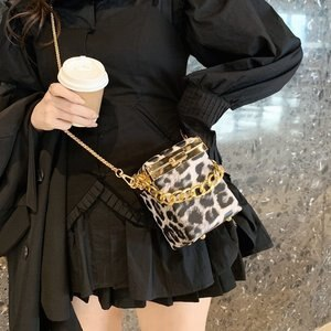 Thick Chain Bag 2020 New Niche Design Women Box Pack Leopard Print French Style Single Shoulder Lipstick Packet D343