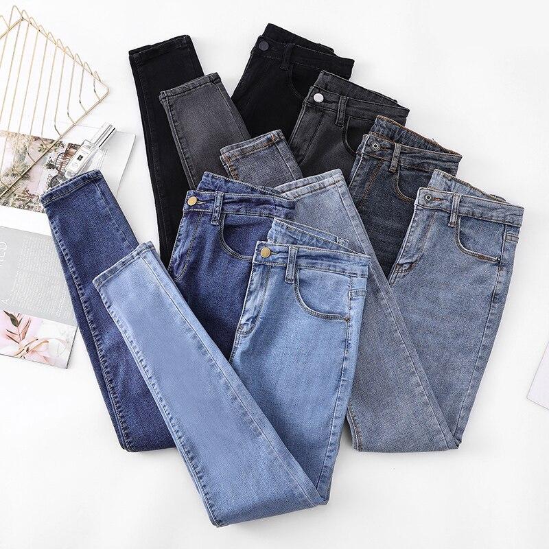 Женские джинсы, модные брюки-карандаш с высокой талией, новинка 2021, облегающие брюки стрейч, женские джинсы