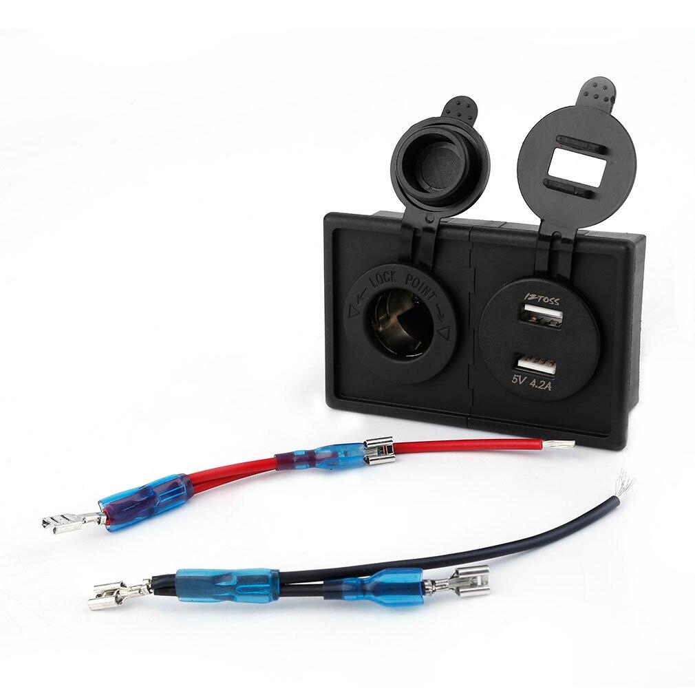 Universal Dual USB azul voltímetro adaptador 12/24V ABS carcasa titular Kit LED cigarrillo toma de corriente para coche barco marino