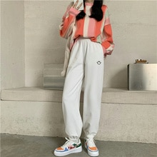 Plush Thickened Guard Pants Spring and Autumn 2021 New Embroidery High Waist Slim Sports Pants White