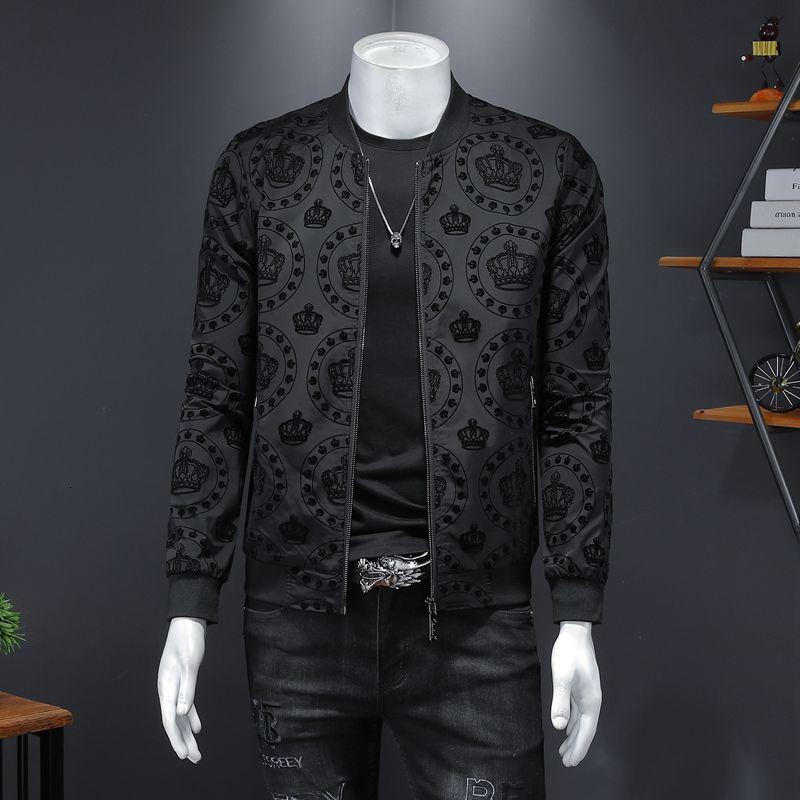 Crown Vintage Jacket Men 2021 Spring New Mens Korean Slim Jacket Men Club Outfit Bomber Black Print Jacket Men Jaqueta Masculina