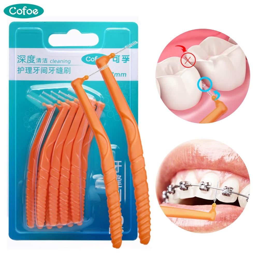 Cepillo Interdental Cofoe alambre de acero fino mango curvo en forma de L limpieza entre dientes cepillo Dental hilo Dental herramienta de cuidado bucal 10 Uds