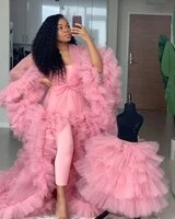 cute tulle evening dresses women long tulle maternity robes custom made sheer robe with bow ruffled photography maternity gowns