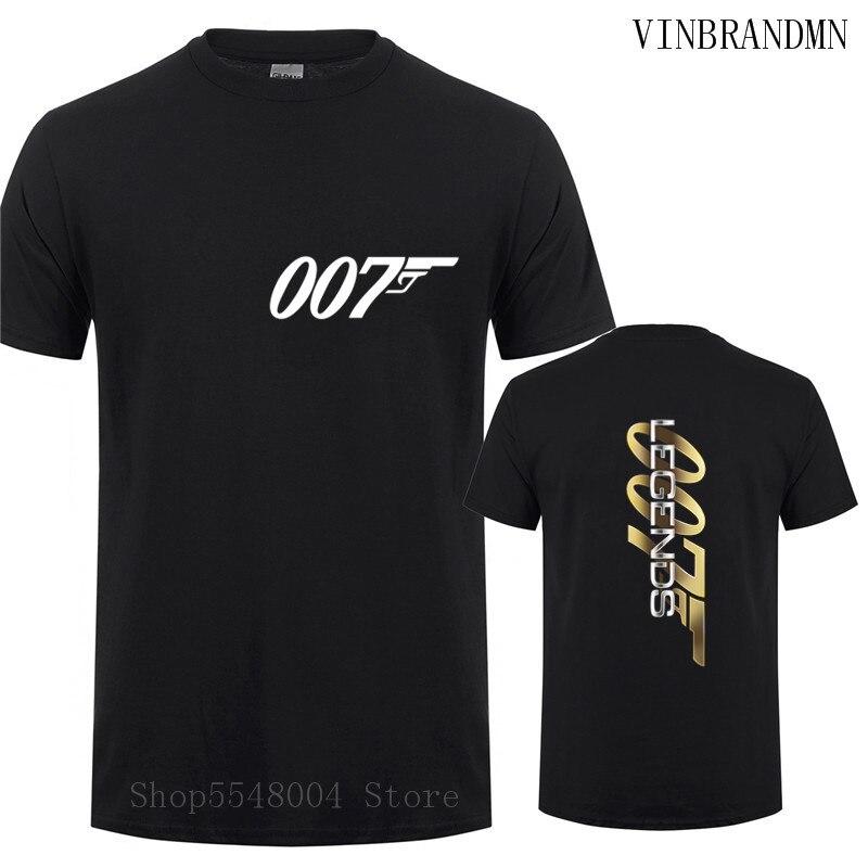Unisex Breathable Graphic Premium Film T-Shirt Men Streewear James 007 Brand Legend Movies Bond Tshirt Fashion Double Print Tees