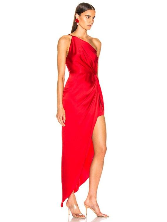 FJ765B-Fashionable sexy diagonal shoulder small sling European and American temperament party irregular evening dress dress