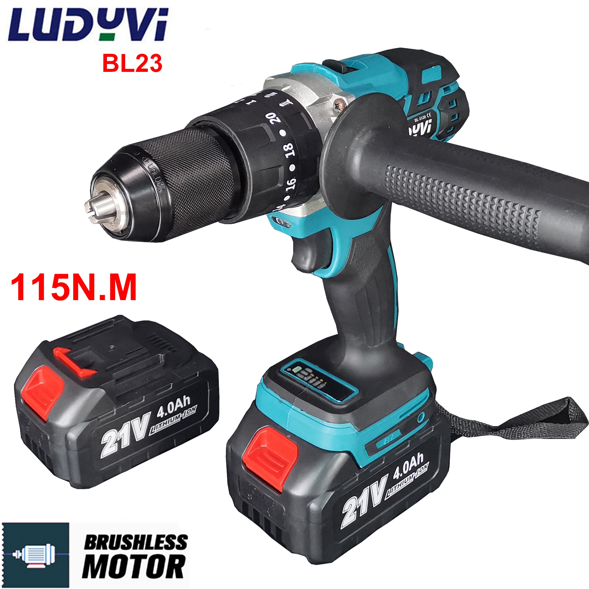cordless drill 21v power tools 3 in 1 with impact function rotary tool electric screwdriver 21V 13MM Brushless Electric Drill 115N/M 4000mah Battery Cordless Screwdriver With Impact Function Can Ice Fishing Power Tools
