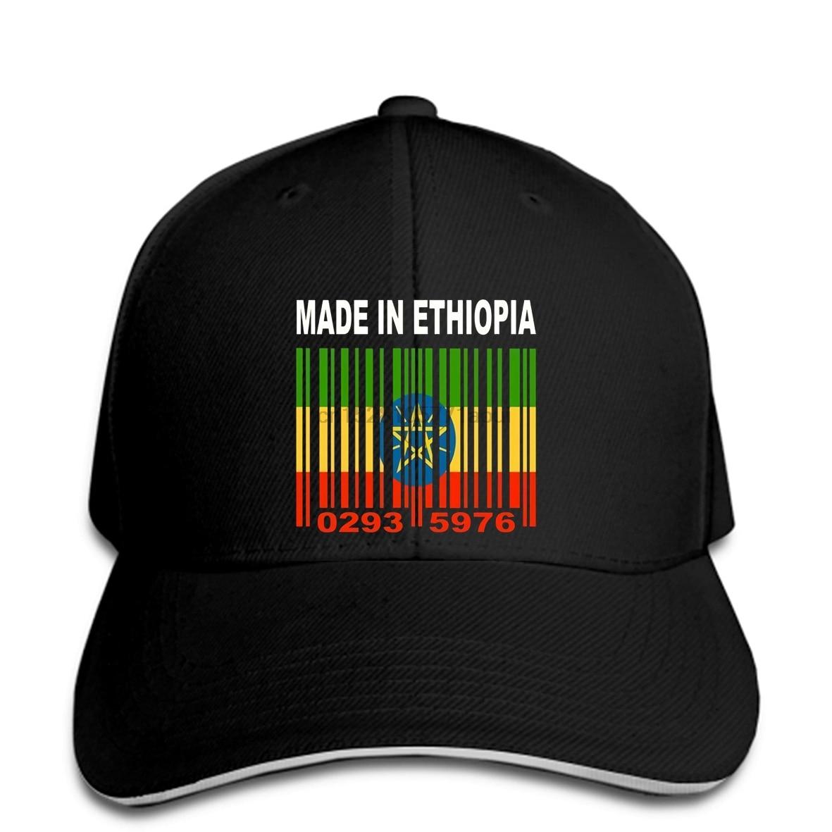 Baseball cap MADE IN ETHIOPIA Ethiopian African Flag CUSTOM BARCODE NUMBERS Baseball caps Y70
