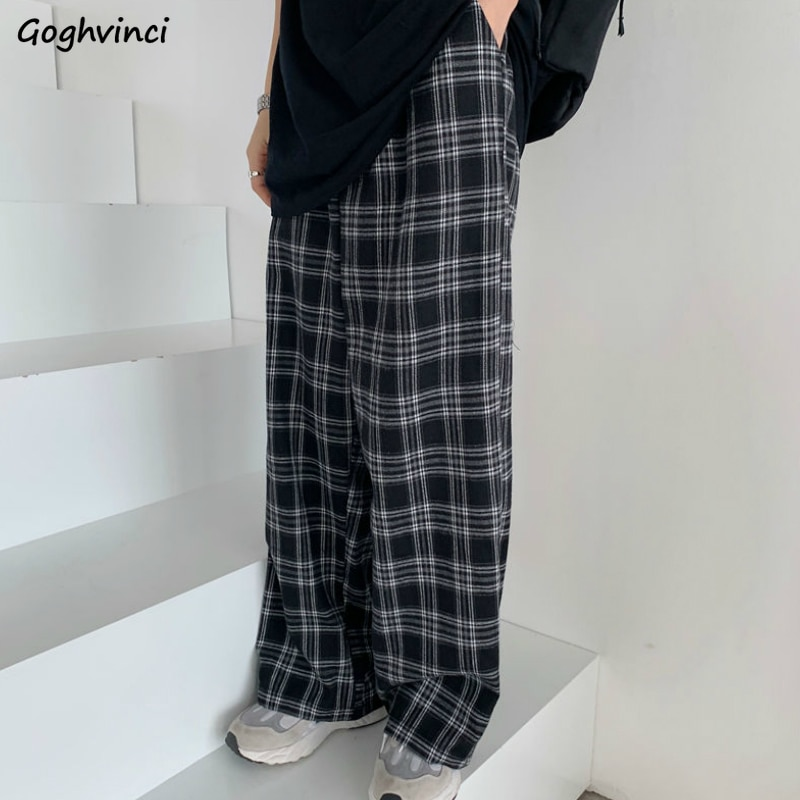 Plaid Pants Women Casual Chic Oversize 3XL Loose Wide Leg Trousers Ins Retro Teens Harajuku Hip-hop