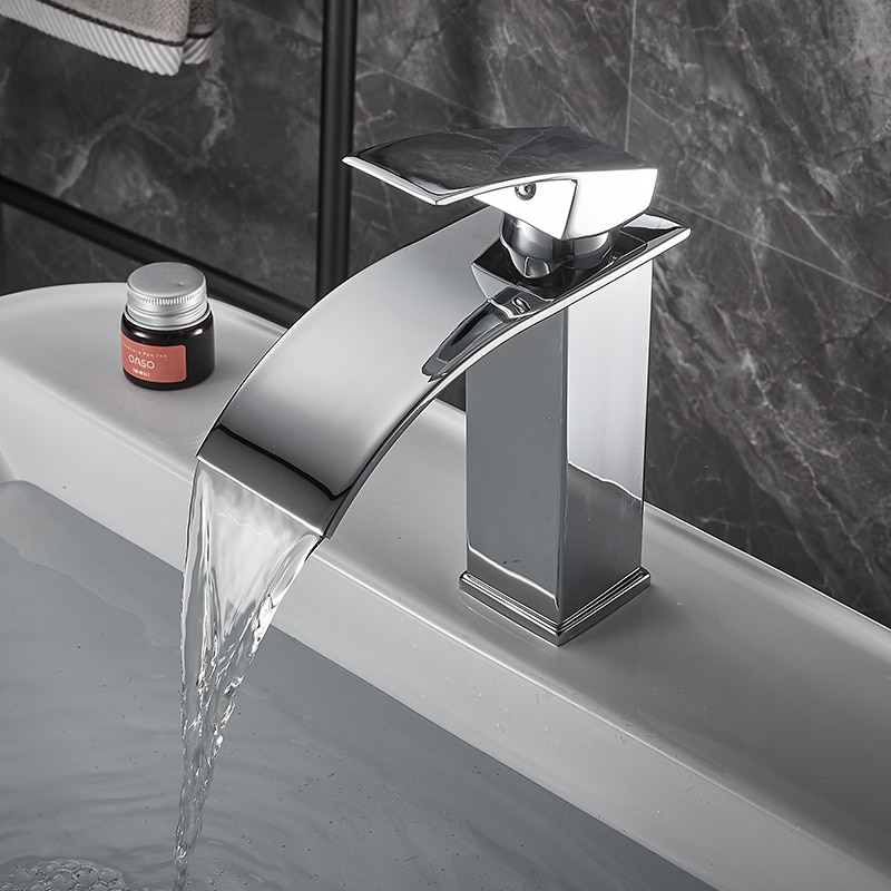 BAKALA-حنفية الشلال لأحواض المغسلة المصقولة ، حنفية رافعة واحدة مثبتة على سطح السفينة ، تأثير الشلال ، العلامة التجارية الجديدة خلاط