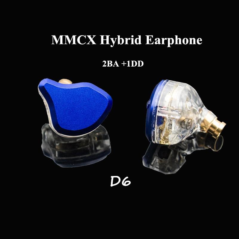 Fone de ouvido híbrido d6 2ba + 1dd mmcx, fones de ouvido feito sob encomenda, mmcx, hi fi, atp-x, monitor de dj, fone de ouvido 2 armadura equilibrada 1 dinâmica