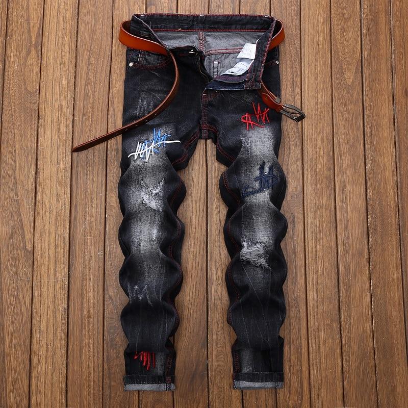 джинсы штаны мужские брюки мужские джинсы для мужчин штаны штаны оверсайз мужская одежда Мужские прямые джинсы, черные джинсы в европейско...