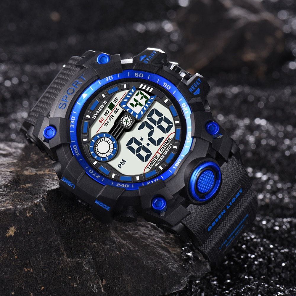 Men's Sports Electronic Watch Multi-Function Outdoor Large Screen Sport Ultra Thin Watches Business