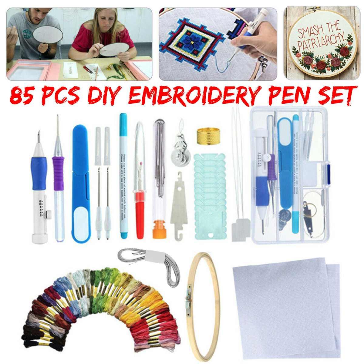 Caneta mágica de soco com agulha para bordado, 85 peças, ferramenta de costura, faça você mesmo, conjuntos de ferramentas de costura, para artesanato bordado