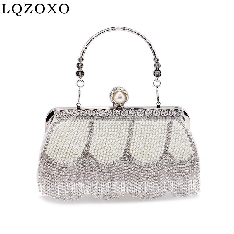 Beading Women Day Clutch Party Wedding Evening Bags Tassel Rhinestones Handbags Pearl New Holder Pur