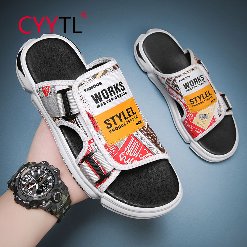 CYYTL Summer Retro Men Outdoor and Indoor Slippers Beach Leisure Trendy Canvas Sandals Casual Flat Comfort Flip Flops Shoes