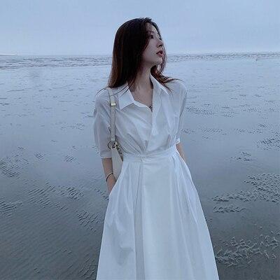 Платье в стиле династии Хань Женский Летний Новый французский темперамент простая белая рубашка Платье Богиня была тонкой чувство дизайна ...
