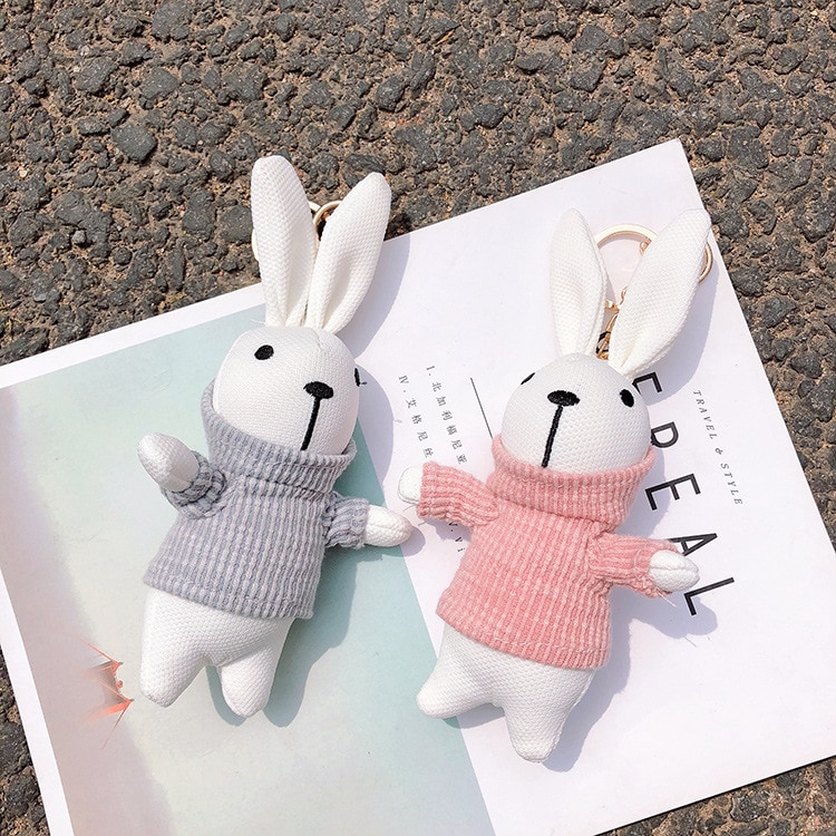 2020 nuevas sudaderas bonitas con capucha conejo conejito muñeca llaveros coche llavero bolso colgante encanto llavero de felpa mujeres niños Juguetes
