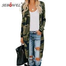 SEBOWEL Herbst Frühling Drucken Lange Stil Frau Pullover Strickjacke Weibliche Camo/Leopard/Schlange Muster Stricken Strickjacken Mäntel S -XXL 2020