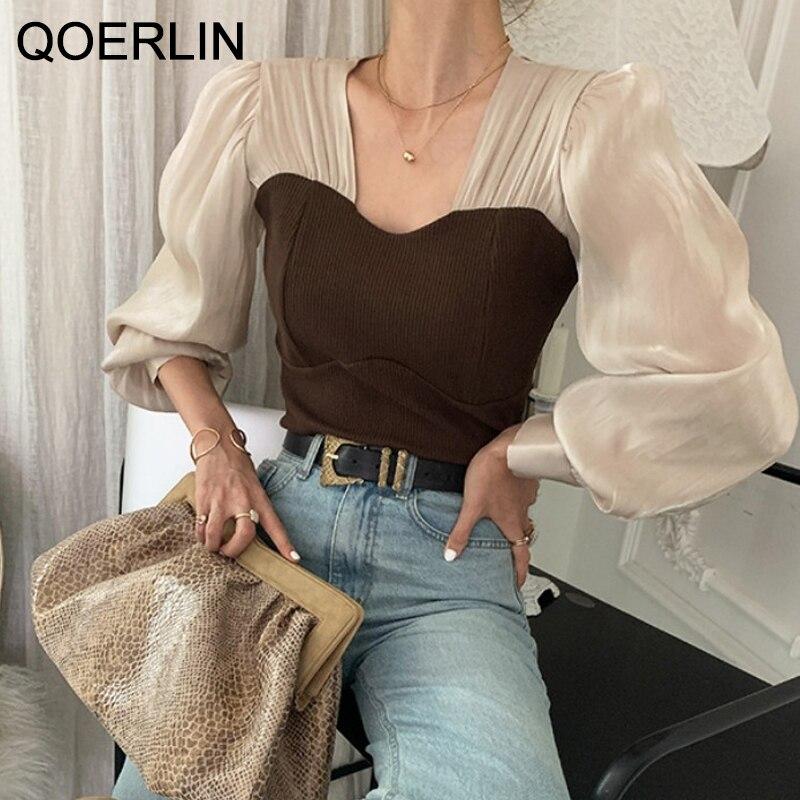 QOERLIN Elegant Lantern Sleeve Blouses Shirts Vintage High Street Patchwork Tulle Transparent Korean Style Lady Tops Spring Fall