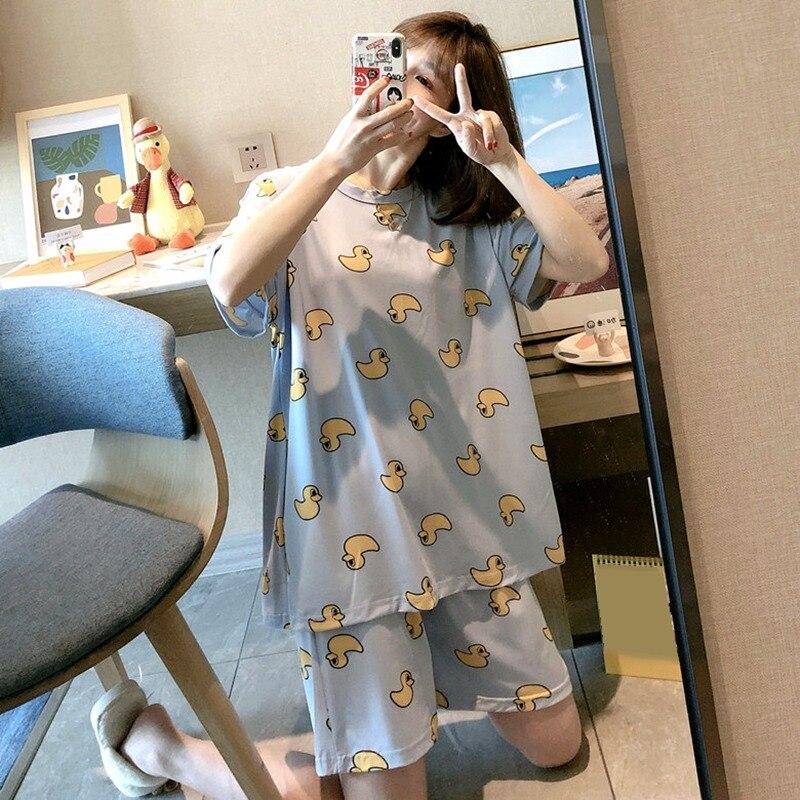 Новинка 2020 года, пижамный комплект, летние милые женские топы и шорты, комплект одежды для сна из 2 предметов, милая домашняя одежда в Корейск...