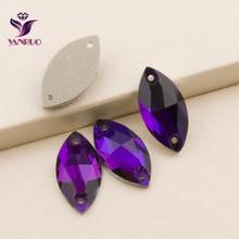 YANRUO 3223 Navette Purple Velvet Sew on Rhinestone Flatback Rhinestones Crystals Sewn Stones Beads Garment Dress