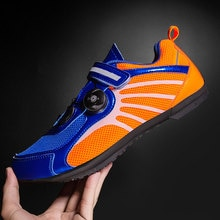 New Breathable Couple Cycling Shoes Reflective Night Visible Road Bike Sneakers Striped Non-Slip Bot