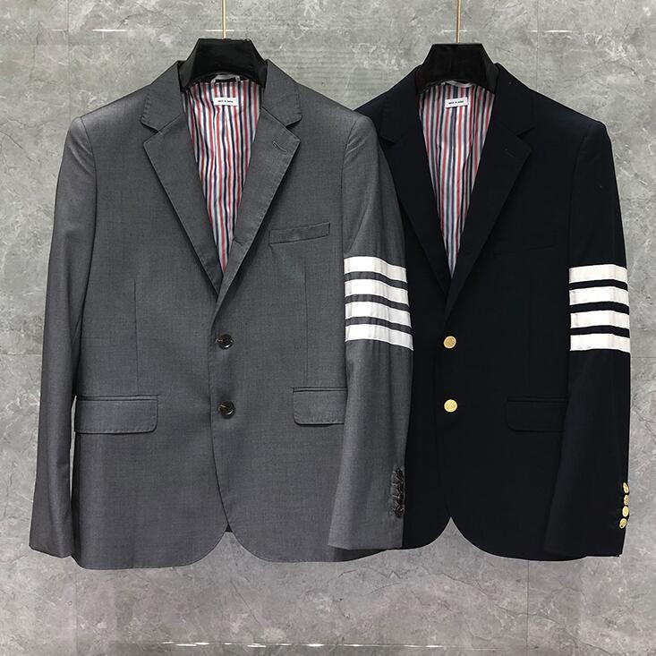 2020 Fashion TB THOM Brand Formal Blazer Men British Casual Suit Men's Jacket Spring Autumn Single Breasted Striped Wool Coat