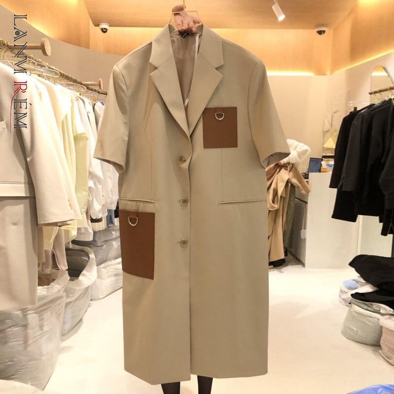 LANMREM 2021 الخريف جديد الكاكي السترة المرأة فضفاضة خياطة قصيرة الأكمام واحدة الصدر منتصف طول معطف الإناث الموضة 2W516