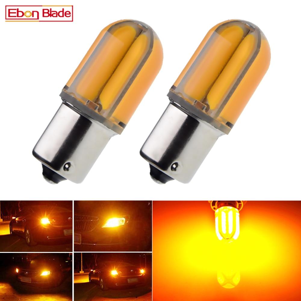 2Pcs Car 1156 BA15S P21W BAU15S PY21W LED Lights Bulbs Amber Yellow Orange Silicone Shell Turn Signal Light Bulb Auto Lamp 12V