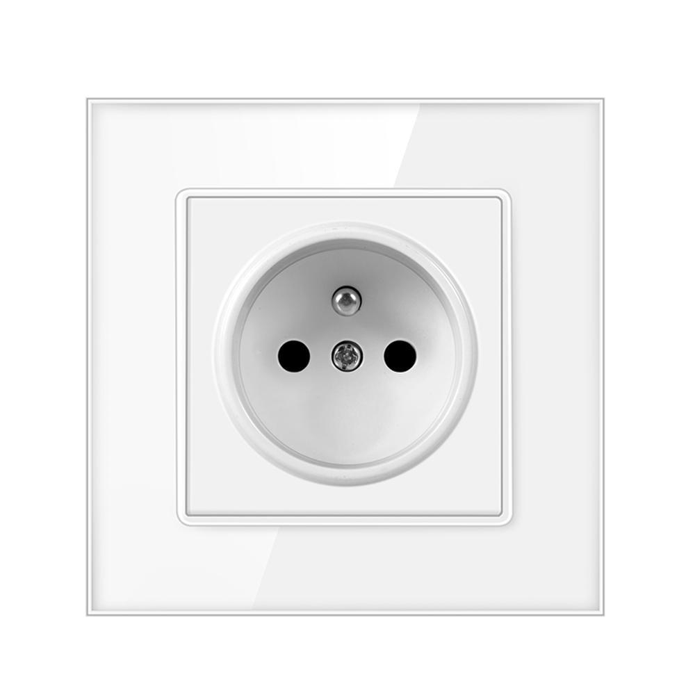 Enchufe de pared estándar UE para el hogar, adaptador de cargador, toma de corriente 16a Francia, Panel de vidrio, CA 110-250V