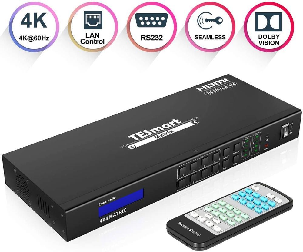 TESmart 4x4 HDMI Matrix 4K@60Hz 4:4:4 HDCP2.2 compliant.