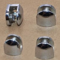 4pcs half round glass clamps plane zinc alloy shelves support two hole corner bracket clips for 8mm furniture hardware