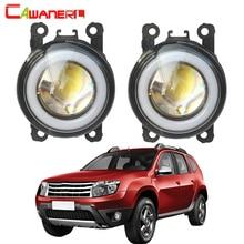 Cawanerl For Renault Duster Car H11 LED Fog Light COB Angel Eye Daytime Running Light 3000LM 12V 2012 2013 2014 2015