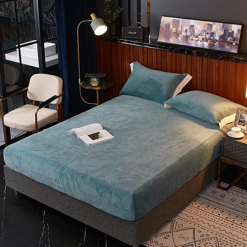 1 pça folha cabida coral fleece sabanas cama cor sólida lençóis em uma faixa elástica inverno roupa de cama quente para roupa de cama adulto