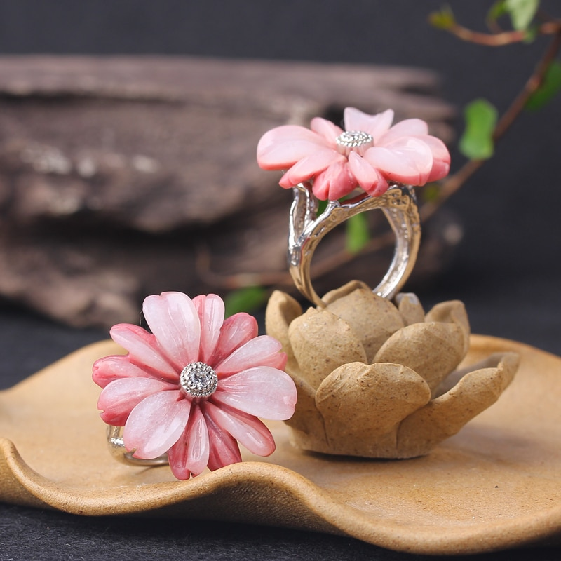 Miqiao novo anel de flor artesanato italiano 925 prata esterlina incrustada rosestone jade fino ajustável feminino jóias feminino