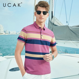 UCAK Brand Classic Turn-down Collar Striped T-Shirt Men Clothes Summer New Fashion Style Streetwear Casual Cotton Tee Tops U5590