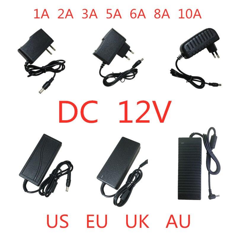 AC 100V-240V a DC 12 V 1A 2A 3A 5A 6A 8A 10A adaptador de fuente de alimentación 12 V voltios transformador de iluminación Convertidor para tira de luz LED