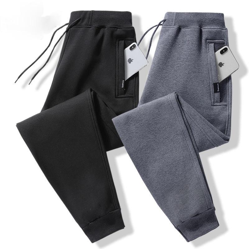 Хлопковые спортивные штаны мужские повседневные размера плюс штаны свободного кроя с эластичной резинкой на талии брюки прямые мужские сп...