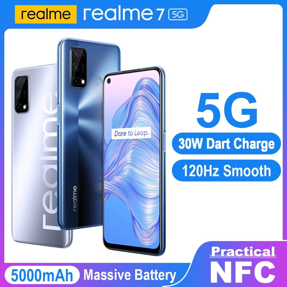 Realme 7 5G NFC смарт-телефонов глобальная версия Dimensity 800U 6 ГБ 128 120 Гц Дисплей 48MP двойной Камера 5000 мА/ч, 30W Дротика Зарядное устройство